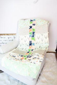 Arrow Woodland Rag Quilt - Toddler Bedding / Throw Size
