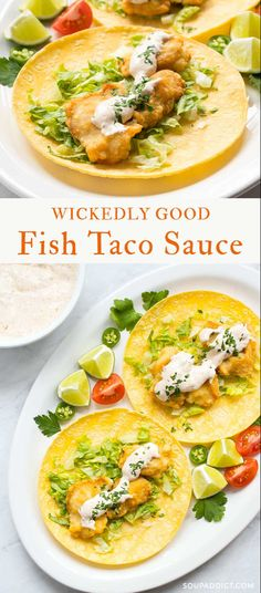 fish taco sauce Wickedly Good Fish Taco Sauce - hands down, the best fish taco sauce I've ever had! Perfectly seasoned with herbs, spices, and chili peppers, it's the perfect white sauce for your fish tacos! Sauce Recipes, Fish Recipes, Seafood Recipes, Mexican Food Recipes, Cooking Recipes, Healthy Recipes, Ethnic Recipes, Cooking Fish, Recipies