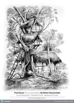 Tree House By Rohan Dassenaieke #Creative #Art #Sketching @Touchtalent.com