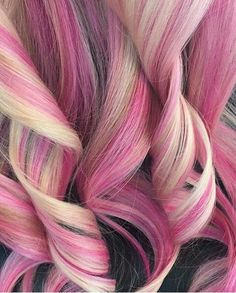 Hair style pink and blond curls