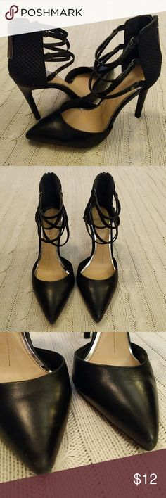 Gianni Bini strappy black heels Super sexy pointed toe heels. Zip up the back. Size 6. Preloved condition. Toes and right heel have some small scuffs noticeable up close (see photos). Gianni Bini Shoes Heels