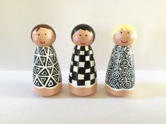 Items similar to Peg doll girls - black and white - set of 3 - shapes - triangle - square - circle - dollhouse toy - peg people - pretend play - on Etsy Girls Dollhouse, Dollhouse Toys, Wooden Pegs, Wooden Dolls, Craft Activities For Kids, Crafts For Kids, Decoration, Doll Clothes, Clothespin Crafts