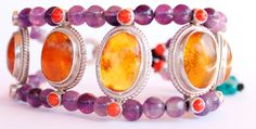Amethyst Bracelet With Coral Gemstones Inlaid Sterling Silver Rings And Amber  #SomGallery #Beaded