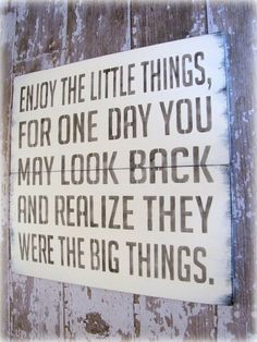 enjoy the little things, for one day you may look back and realize they were big things
