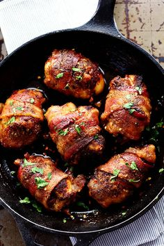Tender and Juicy Chicken that is wrapped in bacon and coated in a blend of spices.  It bakes in brown ...