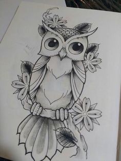 art Art drawings, Drawings, Owls drawing, Sketches, Art sketches, Pencil art - Lonely cute owl with flower -
