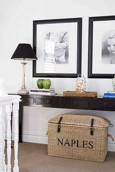 Landing place | Home Beautiful Magazine Australia Entry Hallway, Entryway Tables, Monochrome Interior, Inspiration Boards, Girls Bedroom, Playroom, Sweet Home, Landing, Furniture