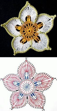 Irish Crochet Patterns, Crochet Doily Diagram, Crochet Flower Tutorial, Freeform Crochet, Crochet Motif, Crochet Designs, Crochet Doilies, Irish Crochet Charts, Pattern Flower