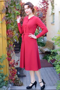 30s style dress in red rayon with flared skirt, long sleeves and buttons, sizes 2-16 by CheriseDesig on Etsy  http://www.etsy.com/listing/206094369/30s-style-dress-in-red-rayon-with-flared