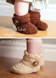 free pattern crochet button wrap around baby booties. If you do this pattern please contact me. There are some changes that needed to be made. I have the alterations written down and I am happy to email them.