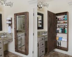 6 Small Bathrooms Ideas That Boost Function and Style: Build a Large Bathroom Cabinet