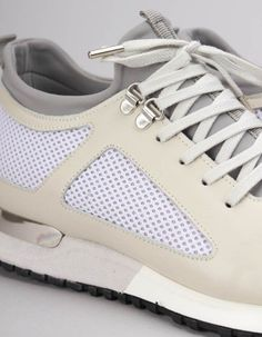 The cream and white mesh diver trainers from Mallet have lace up fronts and include grey neoprene socks, silver metal top eyelets and a metal D ring to the back of the sole. Grey Stone, Trainers, Baby Shoes, Footwear, Socks, Clothing, Men, Fashion, Tennis