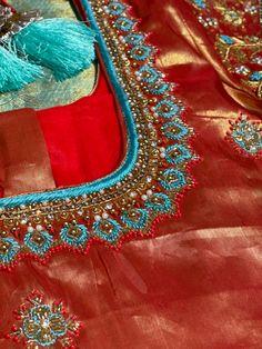 Simple Blouse Designs, Designer Blouse Patterns, Fancy Blouse Designs, Wedding Blouses, Wedding Saree Blouse Designs, Mirror Blouse Design, Diwali Food, Zardosi Work, Maggam Work Designs