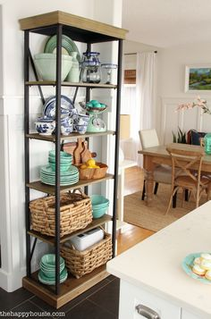 Using an Etagere Shelf for Kitchen Storage & Display - The Happy Housie