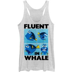 Fifth Sun White Finding Dory 'Fluent in Whale' Tank ($17) ❤ liked on Polyvore featuring tops, fifth sun, white top, white singlet, white tank and white tank top