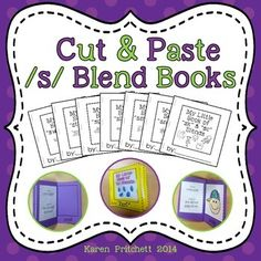 Make these fun little cut and paste /s blend/ books with your students. Make 7 fun books using this ink saving set! Includes a data sheet and picture sheet for RTI data / progress monitoring. Great for Regular Ed or Speech Therapy. Includes 35 /s/ blend images in the initial position of words. (Phrases and Sentences also included.)