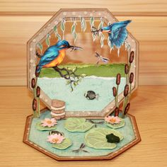 CS134D 'Kingfishers' Clear set contains 15 stamps. Designed by Sharon Bennett for Hobby Art. This set was designed to be used alongside CS128D Riverside. Card made by Sally Dodger