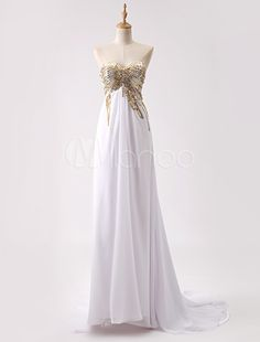 Long White Chiffon Open Back Prom Dress With Sequin Bodice