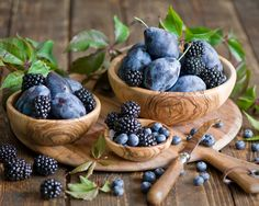 Pflaume / Plum + Brombeeren / Blackberry + Heidelbeere - Blaubeere / Blueberry + Obst - Früchte / Fruit
