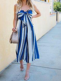 6fc16497bb Blue Contrast Stripe Bandeau Tie Front Chic Women Romper Jumpsuit. MYNYstyle