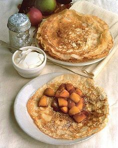 Caramelized Apple Crepes Recipe. I'm not a big crepes fan, but this looks delicious!! what do u think @Rebecca Utech