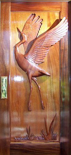 Solid Single Sculptured Doors - Crane Hand Carved Doors