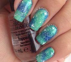 Glitter galaxy mermaid nails. Just wish they were shiny