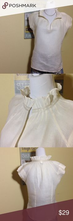 Victorian Style Collar Linen Top This linen top has a collar that adds a bit of drama and charm. The collar continues around the back and has gentle ribbon detailing and pleats. This pullover top is versatile and very feminine! Gently worn but in perfect condition! Banana Republic Tops Blouses