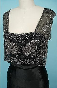 c. 1930's Black Silk Charmeuse Bias Cut Gown with Beaded Net Bodice! Museum Deaccession. Detaile