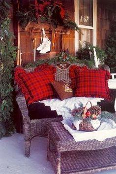 A cozy Christmas porch.so inviting! Cabin Christmas, Merry Little Christmas, Primitive Christmas, Plaid Christmas, Country Christmas, Outdoor Christmas, Winter Christmas, Winter Porch, Christmas Trees