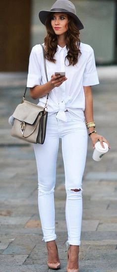casual style inspiration hat + bag + shirt + rips