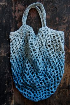 ombre dip dye hand crocheted market tote in indigo by enhabiten, $38.00