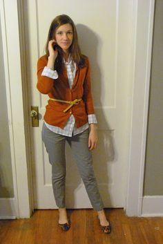 crop pants, gingham, orange cardigan