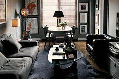 Charcoal bachelor pad living room. Moody and stunning!