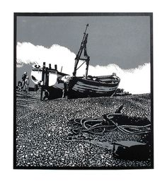 The Rachael Linda, Aldeburgh - Linocut by Graham Spice Woodblock Print, Engraving Printing, Linocut, Linocut Prints, Art, Seascape, Lithograph, Pictures, Prints