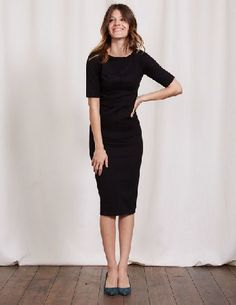 Boden Barbara Ponte Dress Black Women Boden, Black You cant help but have a little wiggle in your walk when wearing this figure-loving dress. Our vintage shape, in super-flattering premium stretch fabric, has seam details on the front and back to nip  http://www.MightGet.com/april-2017-1/boden-barbara-ponte-dress-black-women-boden-black.asp