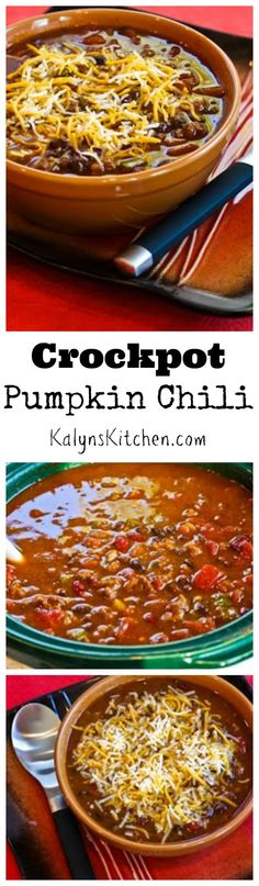 This Crockpot Pumpkin Chili is so good my nephew won a chili contest with this recipe! PIN it now so you'll have it when you're ready to get your pumpkin on! [from KalynsKitchen.com]
