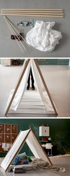 We originally made this indoor tipi for a starting school idea, but liked it so much we got our interior designer to tell us how it's done. We think it could be a fantastic kids reading nook, a place for pets or just a cosy playful space to hang out.