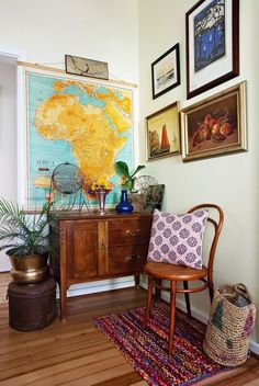 entree carte vintage planisphere