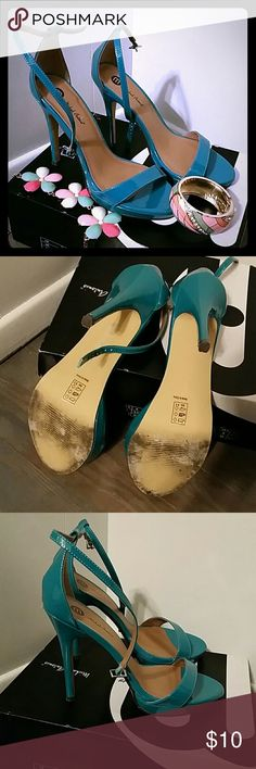 Aqua Teal Strappy Sandal Patent Leather Like Aqua Sandal.  Worn once to a wedding.  Great condition.  Will include jewelery with a full price sale. Michael Antonio Shoes Heels