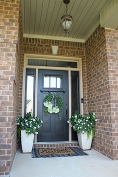Black and White and Green Collected Porch - The Hamby Home