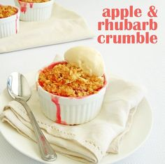 delicious belly-warming treat. Apple and Rhubarb Crumble #recipe
