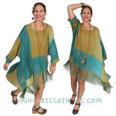 SunHeart Boho Hippie Chic Fringe High Low Tunic or Dress one