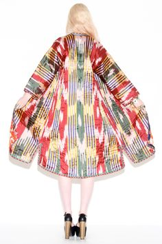 Antique Uzbekistani Reversible Silk Chapan http://thriftedandmodern.com/antique-uzbekistani-reversible-silk-chapan-robe