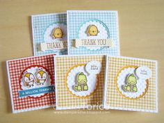 STAMPARADISE: Mini Thank You Cards, using Mama Elephant just hatched stamps.