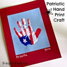 Patriotic Handprint Flag Craft for Kids-did this at the daycare I work at, minus the backing, and it turned out real cute!