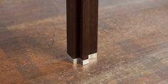 Foot made from aluminium from an alvari full-wood dark smoked oak table