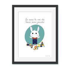 Affiche, illustration décorative pour chambre d'enfant - je suis le roi de tous mes jouets