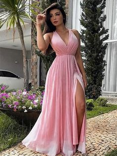 Pink v neck chiffon long prom dress, pink evening dress – shdress Split Prom Dresses, Prom Dresses Under 100, Pink Prom Dresses, Wedding Party Dresses, Pink Dress, Bridesmaid Dresses, 1950s Dresses, Prom Gowns, Homecoming Dresses