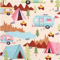 Under the stars cream camping fabric Timeless Treasures